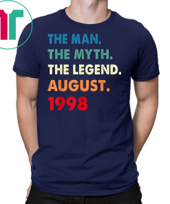 21st Birthday Gift The Man Myth Legend August 1998 Shirt
