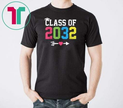 Class Of 2032 Grow With Me Graduation First Day Of School T-Shirt