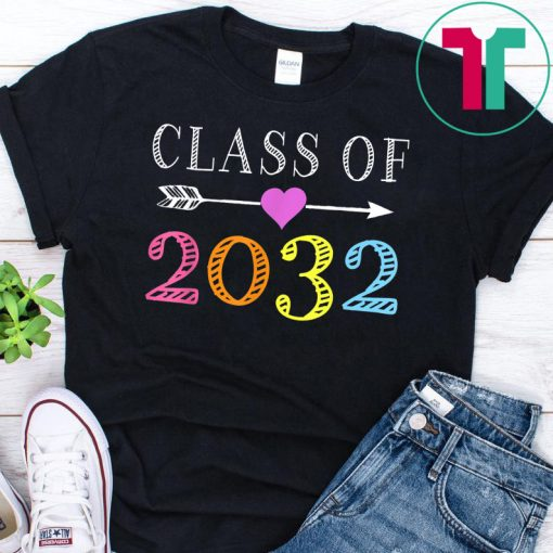 Class Of 2032 Grow With Me Kindergarten First Day Of School T-Shirt
