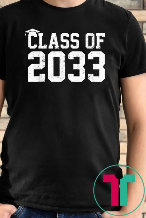 Class Of 2033 Grow With Me Graduation First Day Of School T-Shirt