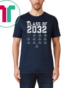 Class of 2032 Grow With Me Shirt With Space For Checkmarks T-Shirt