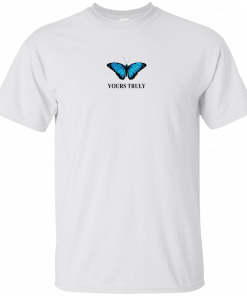 Yours truly blue butterfly shirt